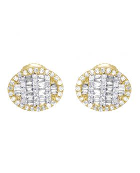 10K Yellow Gold Baguette Diamond Oval Earrings 11MM .5 CT