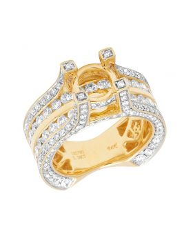 Real 14K Yellow Gold Diamond 3D Semi Mount Engagement Ring 3.40 CT 9MM