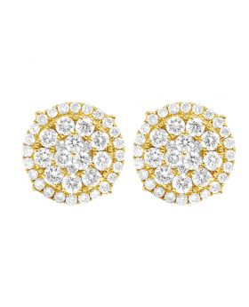 10K Yellow Gold Real Diamond Flower Cluster Double Halo Stud Earrings 13mm 1.95CT
