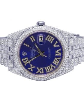 Rolex Datejust II 41MM 126300 Blue Dial Diamond Watch 17.75 Ct