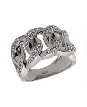 White Gold Over .925 Sterling Silver Diamond Cuban Link Pinky Ring 0.50ct