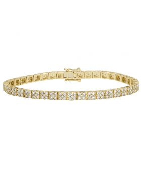Men's 10K Yellow Gold Diamond 4MM Designer Cluster Bracelet 4 CT 8""