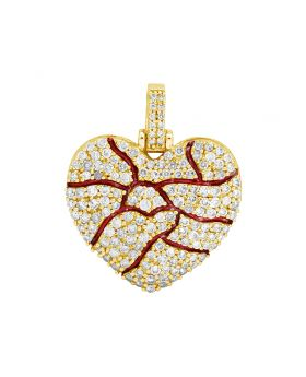 10K Yellow Gold Broken Bleeding Diamond Heart Pendant Charm 1.1CT 1""