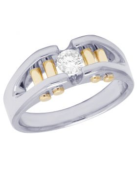 14K Two Tone Gold Real Diamond Mens Solitaire Gold Bar RIng 0.40 CT