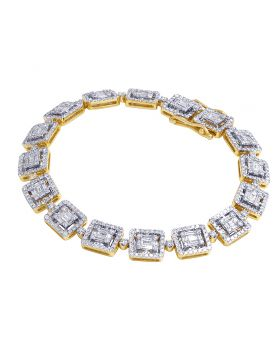 "10K Yellow Gold Real Diamond Baguette Link Bracelet 8 CT 8"" 9MM"