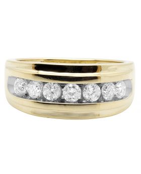 10K Yellow Gold One Row Real Diamond Channel Wedding Band Ring 0.90 Ct