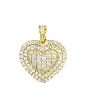 "14K Yellow Gold Puffed Heart 2 Row Border Pendant Charm 1.5"" 3.6CT"