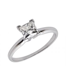 14K White Gold Princess Diamond Solitaire Engagement Ring 0.50ct