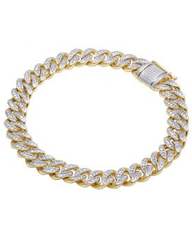 Men's 10K Yellow Gold Real Diamond Miami Cuban Bracelet 1 CT 9MM