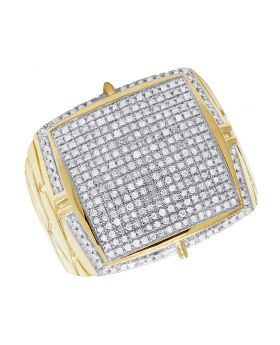 Men's 10K Yellow Gold Diamond Iced Square Pinky Ring 1 CT 21MM