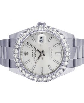 Rolex Steel Oyster Datejust II 126300 41MM Diamond Watch 6.0 Ct