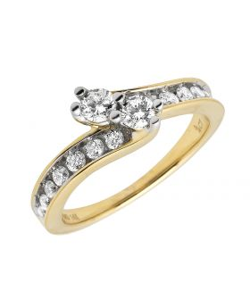 14K Yellow Gold 2 Stone Forever Us Channel Ring .75 ct