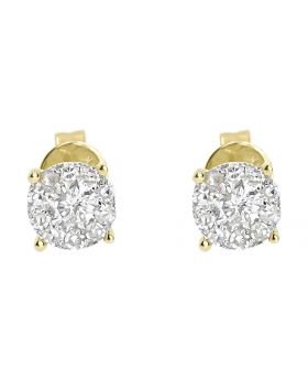 5.5mm Illusion Set Diamond Earrings in 14k Yellow Gold (0.64 ct)