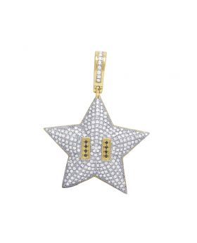 Mens 10K Yellow Gold Mario Star Bros Diamond Pendant 1.10CT