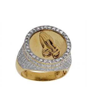 10K Yellow Gold Praying Hand Round Pave Set Diamond Ring 1.75Ct