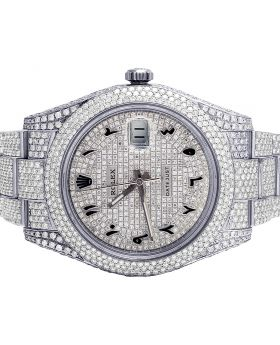 Rolex Datejust II 116300 41MM Steel Iced Out Diamond Watch 18.95 Ct