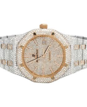 Mens 41 MM Audemars Piguet Royal Oak 18k Rose Gold/Stainless Steel with VS diamond (35.5 Ct)