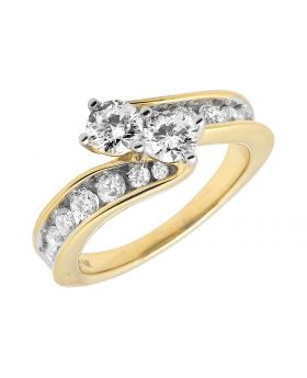 14K Yellow Gold 2 Stone Forever Us 1 Row Channel Ring 1.50 ct