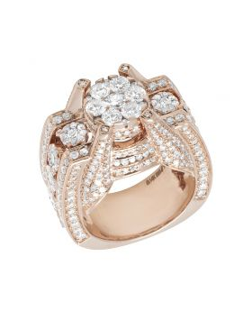 14K Rose Gold 3D Designer Real Diamond Ring 4.66CT 15MM