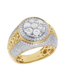 10K Yellow White Gold Real Diamond Mens Dome Flower Cluster Pinky Ring 2.75 CT