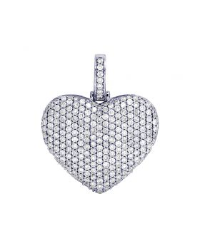 10K White Gold Diamond Heart Pendant Charm 2.25CT 1.25""
