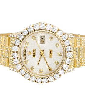 Rolex 18K Yellow Gold Day-Date President 18038 Diamond Watch 13.0 Ct
