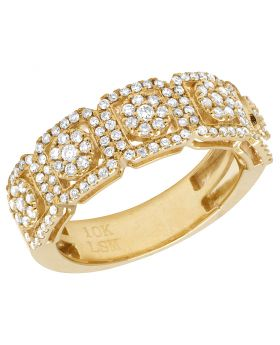 10K Yellow Gold Diamond 8MM Halo Cluster Band Ring 1.25 CT