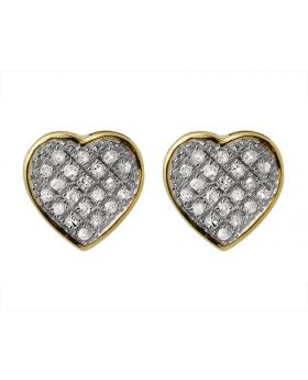 10K Yellow Gold Heart Shaped Round Genuine Diamond Stud Earrings 0.15ct