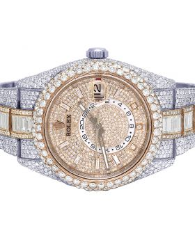 Rolex Sky Dweller 42MM 326938 Everose Baguette Diamond Watch 36.55 Ct