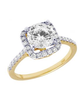 14K Yellow Gold 0.40 Ct Diamond Solitaire Semi Mount Ring