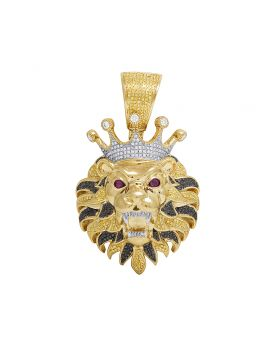 Mens 10K Yellow Gold Treated Black Canary Diamond Roaring Lion Charm Pendant 3CT