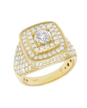 Men's 14K Yellow Gold Real Diamond Solitaire Ring 3.33 CT 17MM