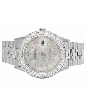 Mens Rolex Datejust 36MM 16014 Quickset MOP Dial Diamond Watch 2.5 Ct
