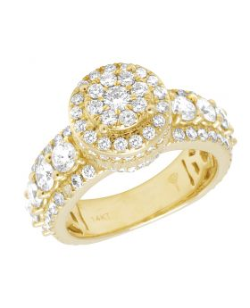 Mens 14K Yellow Gold 3D Cluster Diamond Ring 5.0Ct 12MM