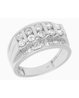 10K White Gold Real Diamond Channel Set Mens Pinky Ring 1.65 CT