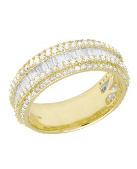 Men 10K Yellow Gold 5 row Real Diamond Baguette Ring Band 8MM 2.0 CT Size 10