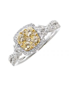Engagement Ring with Clustered Yellow Diamonds (1.01 ct)