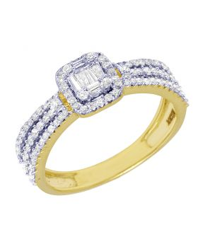 Yellow Gold Halo Baguette Diamond Engagement ring 7.5MM 0.65 Ct