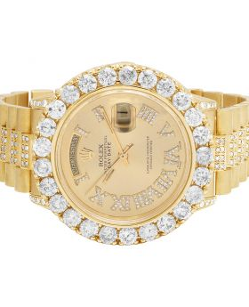 Rolex 18K Yellow Gold Day-Date President 18038 36MM Diamond Watch 12.5 Ct
