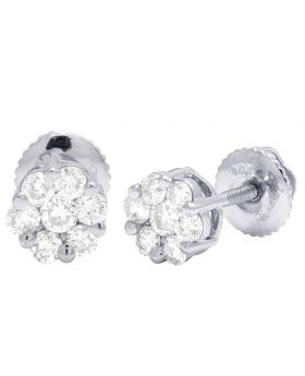 10K White Gold Flower Cluster Diamond Earrings .50CT