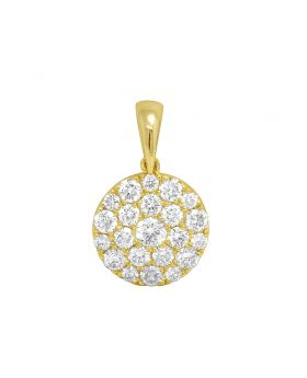 "Ladies Yellow Gold Round Flower Cluster Pendant 0.75"" 1.1CT"