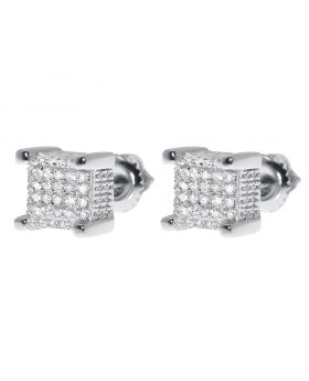 7mm Cube Earrings in White Gold Finish (0.33 ct)
