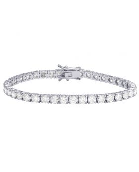 Ladies 14K White Gold Real Diamond 1 Row Tennis Bracelet 7.80 CT 4MM