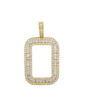 10K Yellow Gold Diamond Frame For Fortuna Coin Bar Pendant 3.25 Ct