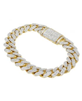 Yellow Gold 9.55 CT Diamond 13mm Miami Cuban Bracelet 8.5""