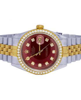 Rolex Datejust 18K/ Steel 36MM Red Dial Diamond Watch 2.5 Ct