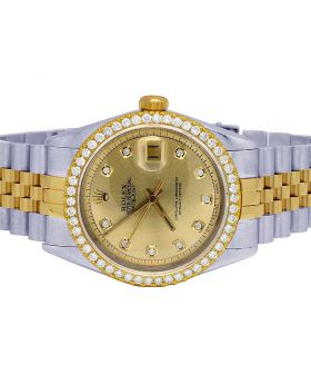Rolex Datejust 18K/ Steel 36MM Champagne Dial Diamond Watch 2.5 Ct