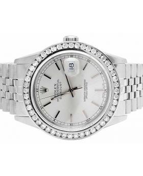 Mens Rolex Datejust 36MM 16014 Quickset Silver Dial Diamond Watch 3.0 Ct