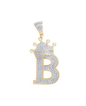 "10K Yellow Gold Diamond Tilted Crown Initial ""B"" Pendant 0.60 Ct 1.75"""