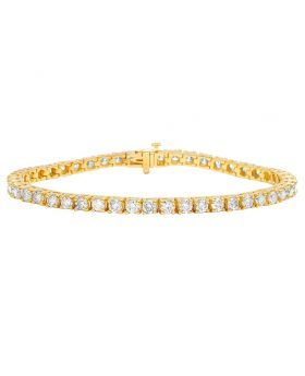 14K Yellow Gold 4MM Tennis Solitaire Diamond Bracelet 9.10CT 8""